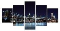 5 Piece Wall Art New York City Night Landscape Prints Canvas Painting Modern Living Room Decor