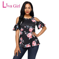 Liva Fille Manches Courtes Froid Épaule Mignon Top T Chemises Femmes courbes Casual D'été Tops Imprimé floral Femmes Chemises Femelle T Chemise