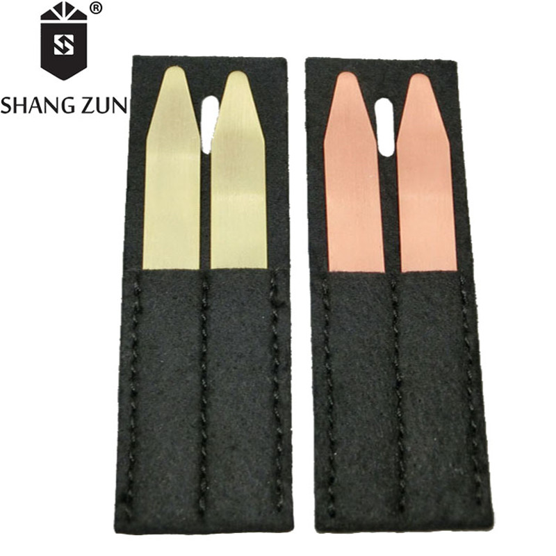 SHANG ZUN High Quality Copper Brass Collar Stays Bones Stiffeners 2 Colors For Business Formal Shirt Collar