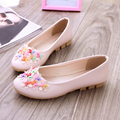 2016 spring summer new women slip on office shoes soft bottom and floral decoration flat shoes cool pink lady work flats sapatos
