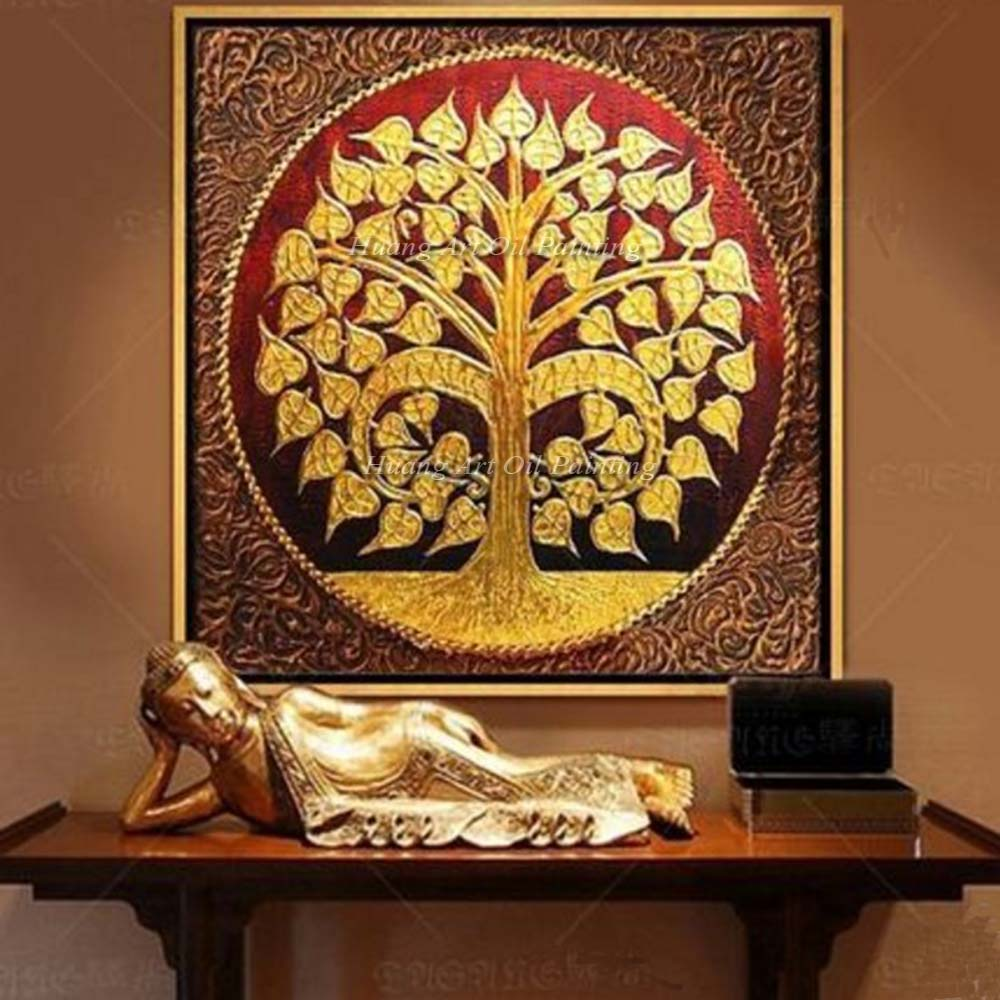 Novos produtos 2018 pinturas de arte de parede abstrato bodhi deixa a pintura pinturas decorativas do sudeste asiático artesanal pintura a óleo 3d