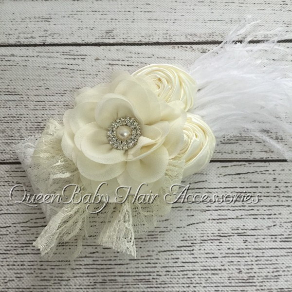 Retail! Satin Flower Matching Lace Bow Feather Lace Headband Chiffon Flower Headband Baby Headband