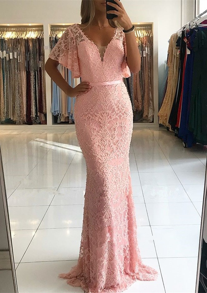 New Beautiful Pink   Prom     Dresses   2019 vestidos de gala Deep V-neck Beading Lace Evening Party   Dress   Mermaid