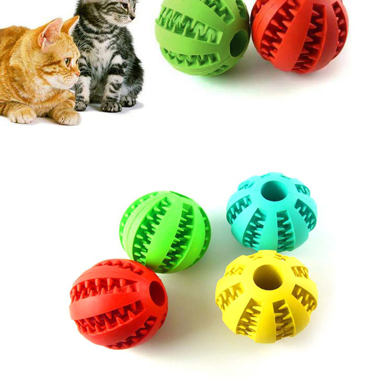 Anpro 5cm Stretch Natural Rubber Leaking Ball Pet Cat Dog Interactive Toy Dog Chew Toys Tooth Cleaning Elasticity Balls