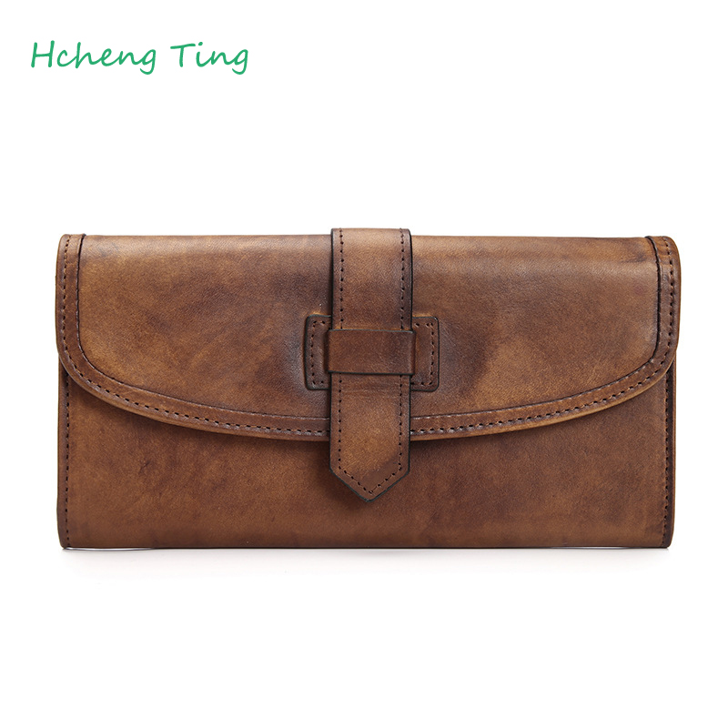 100% Genuine Leather Women Wallet Luxury Brand Long Clutch Female Vintage Design High Quality Wallet Classical Coin Purse недорго, оригинальная цена