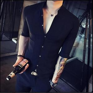 Image 5 - Stand Kraag Chinese Stijl Overhemd Mannen Slim Fit Korea Kleding Mannen Half Mouw 2018 Zomer Designer Club Shirt Camisa Masculina