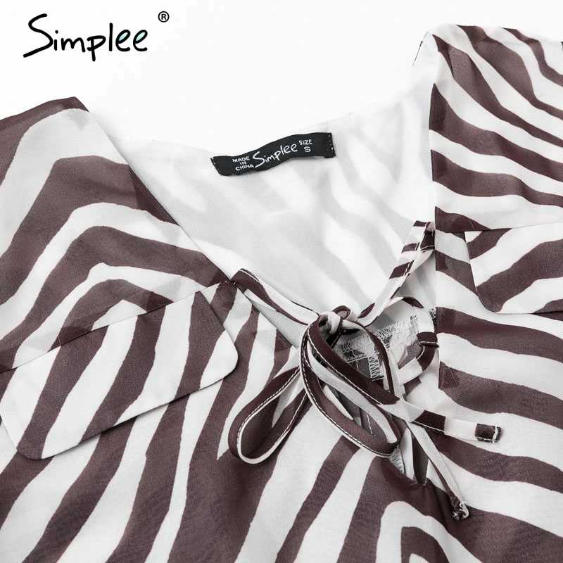 Женская блуза Simplee с принтом полос зебры, женская элегантная рубашка больших размеров, женский топ на завязке с v-образным вырезом для весны и лета, 2019