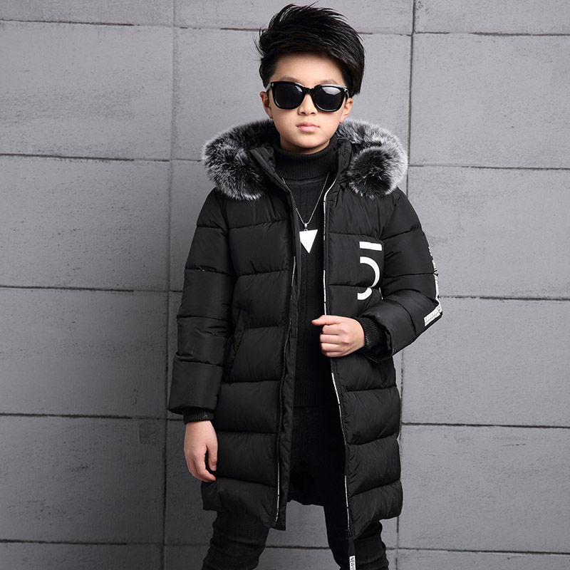 2017 winter down jacket for boy fur kids coat cotton hooded jacket for a boy casual Outerwear padded children clothing winter jacket female parkas hooded fur collar long down cotton jacket thicken warm cotton padded women coat plus size 3xl k450