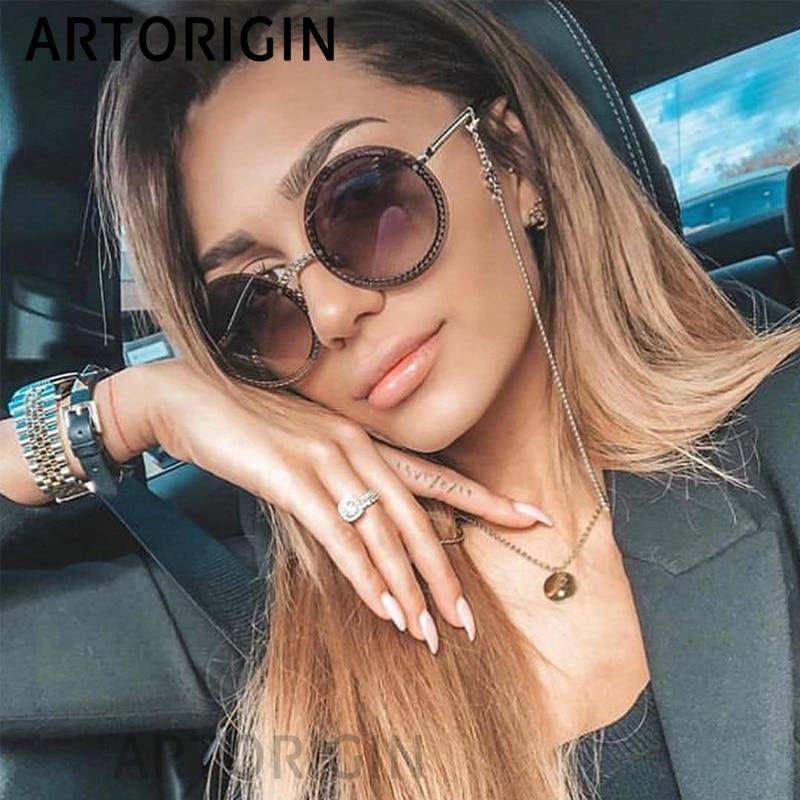 Óculos de Sol De luxo Mulheres Óculos Sem Aro Redondo Senhoras Elegante Fêmea Óculos Redondos gafas de sol mujer Novos 2019