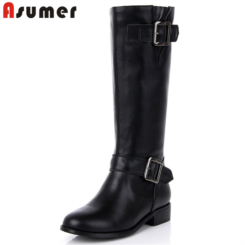 ASUMER big size 34-43 fashion knee high boots women round toebuckle pu+cow leather boots low heels autumn winter boots women plus size 34 43 winter autumn women soft leather knot low heels lovely knee high boots 3colors pink ladies fashion female shoes