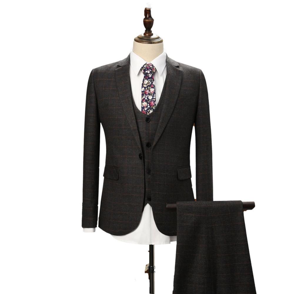 2018 New Fashion Dark Grey Groom Tuxedos Groomsmen Best Man Suits 3 Pieces (Jacket+Pants+Vest) Wedding Suit Formal Suit Custom