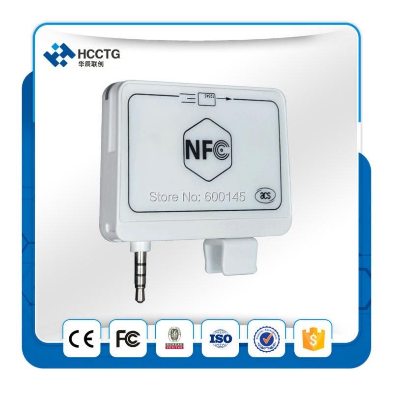 ACS portátil 13.56 MHz RFID 35mm audio Jack NFC MPOs Mobile mate lector para iOS Android Mobile Bank Y PAGO envío SDK--ACR35