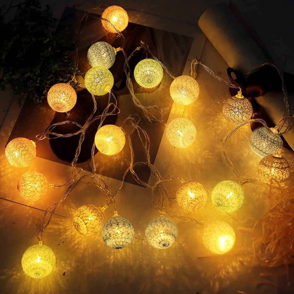 3.55m 20 Leds String Lights Cotton Thread Balls Home Decoration Lamp For Party Wedding Us/eu Plug Jdh99 Delicious In Taste Lights & Lighting