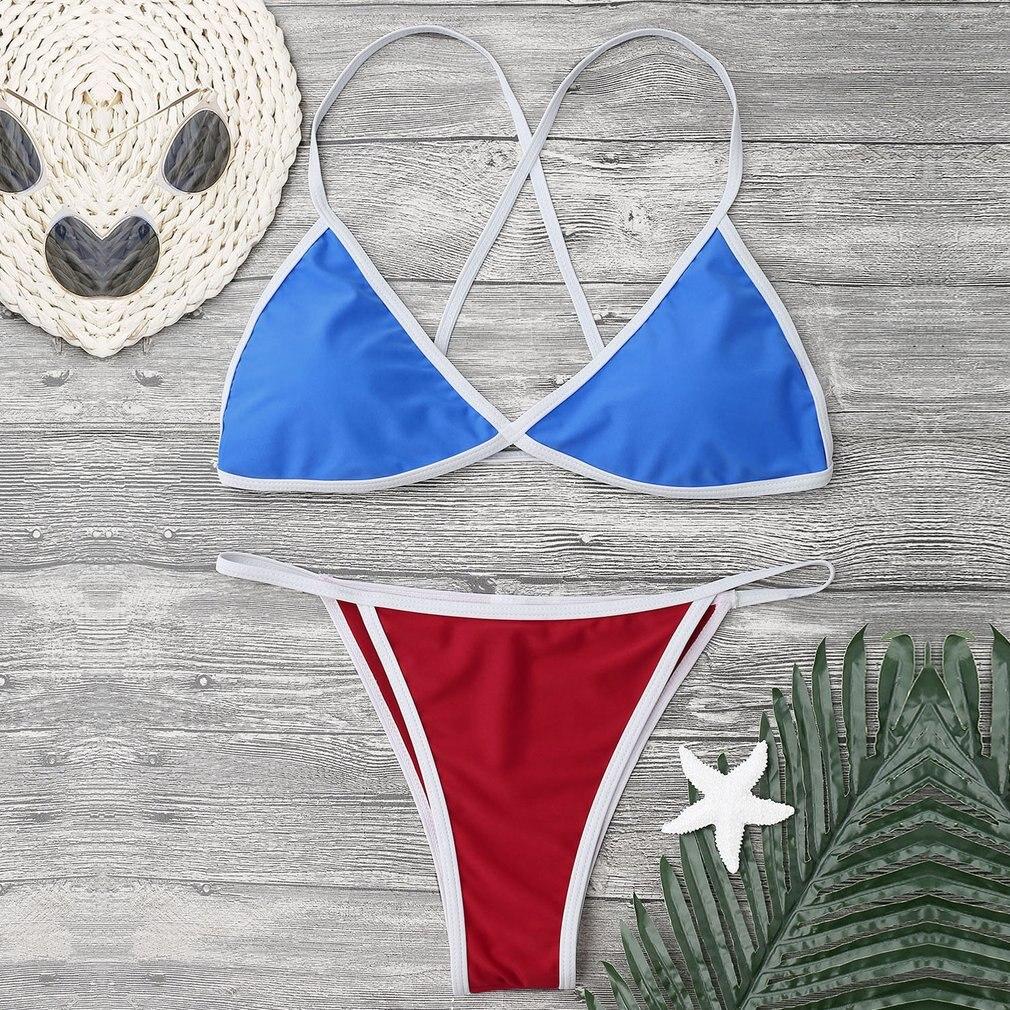 OUTAD Navy Style Sexy Two-piece Bikini Set Comfortable Padded Women Female High Elasticity Swimsuit Swimwear Beachwear