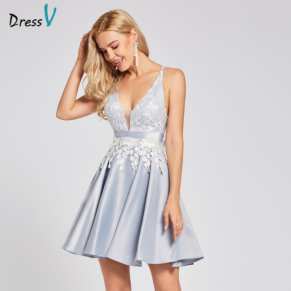 Dressv silver   cocktail     dress   cheap v neck a line sleeveless criss-cross graduation party   dress   elegant fashion   cocktail     dress