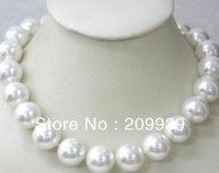 FREE SHIPPING AS1130 HUGE 18 16MM AUSTRALIA SOUTH SEA NATURAL WHITE PEARL NECKLACE 14K