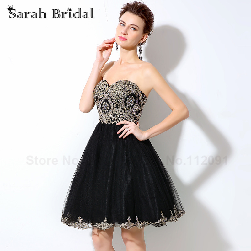 Sexy Sweetheart A Line Homecoming Dresses Black Tulle 2016 Luxury