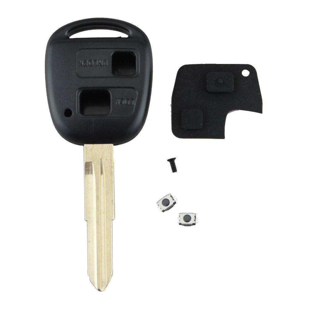Kit de reparación de 2 botones para llave remota, carcasa de goma para Toyota Yaris, carcasa con hoja sin cortar