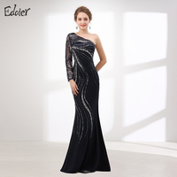 New Arrival Mermaid Evening Dress 2017 Long Sleeve One Shoulder Heavy Beaded Crystal Black Evening Gown Plus Size Prom Dress