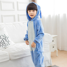 Photography Kid Boys Girls Party Clothes Pijamas Flannel Pajamas Child Pyjamas Hooded Sleepwear Cartoon Animal Stitch
