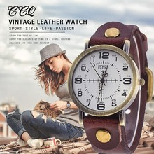 Hot Selling CCQ Vintage Cow Leather Bracelet Watch