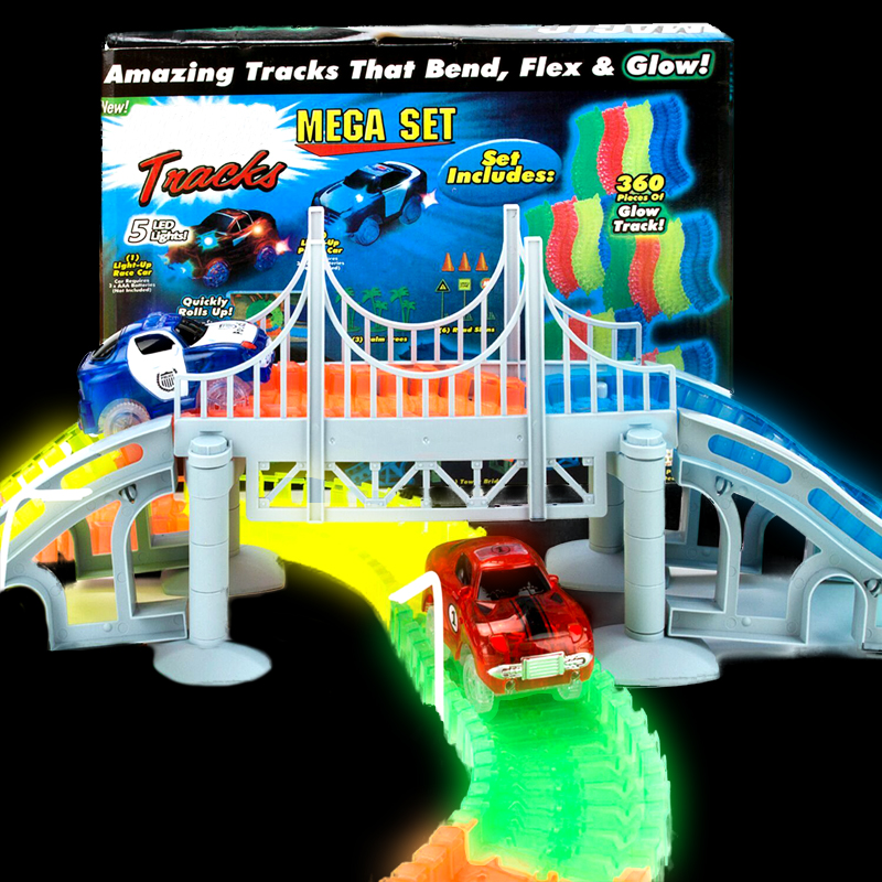 Inflatable Miraculous Glowing Race Tracks Bridge Set Changeable Road LED Car 2 Bend Flash In The Dark Flexible Toy For Boys