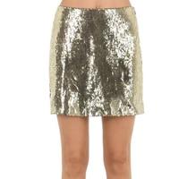 Gold Squins Skirt 2019 Women High Waist Sequin Pencil Skirt Jupe Falda Saia Sexy Club Party Bodycon A line Mini Skirt Clubwear