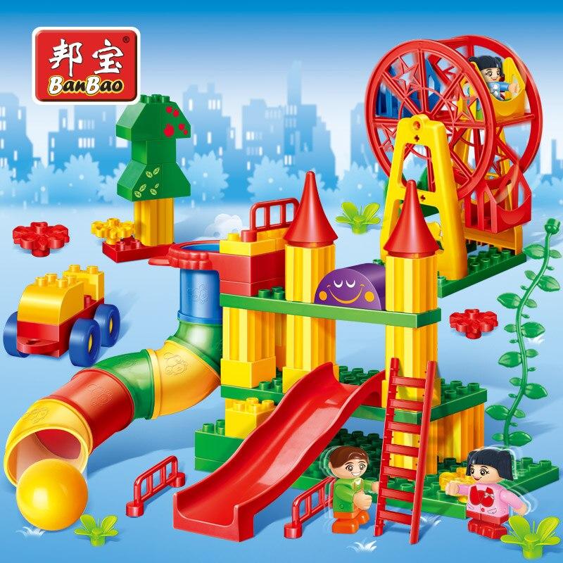 BanBao دُولابٌ دَوّار الشريحة الجزيئات الكبيرة الطوب التعليمية ألعاب مكعبات البناء للأطفال الأطفال هدايا 6515-في حواجز من الألعاب والهوايات على  مجموعة 1