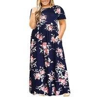 Новое модное свободное Повседневное платье большого размера женское платье с короткими рукавами и принтом повседневные свободные летние п...