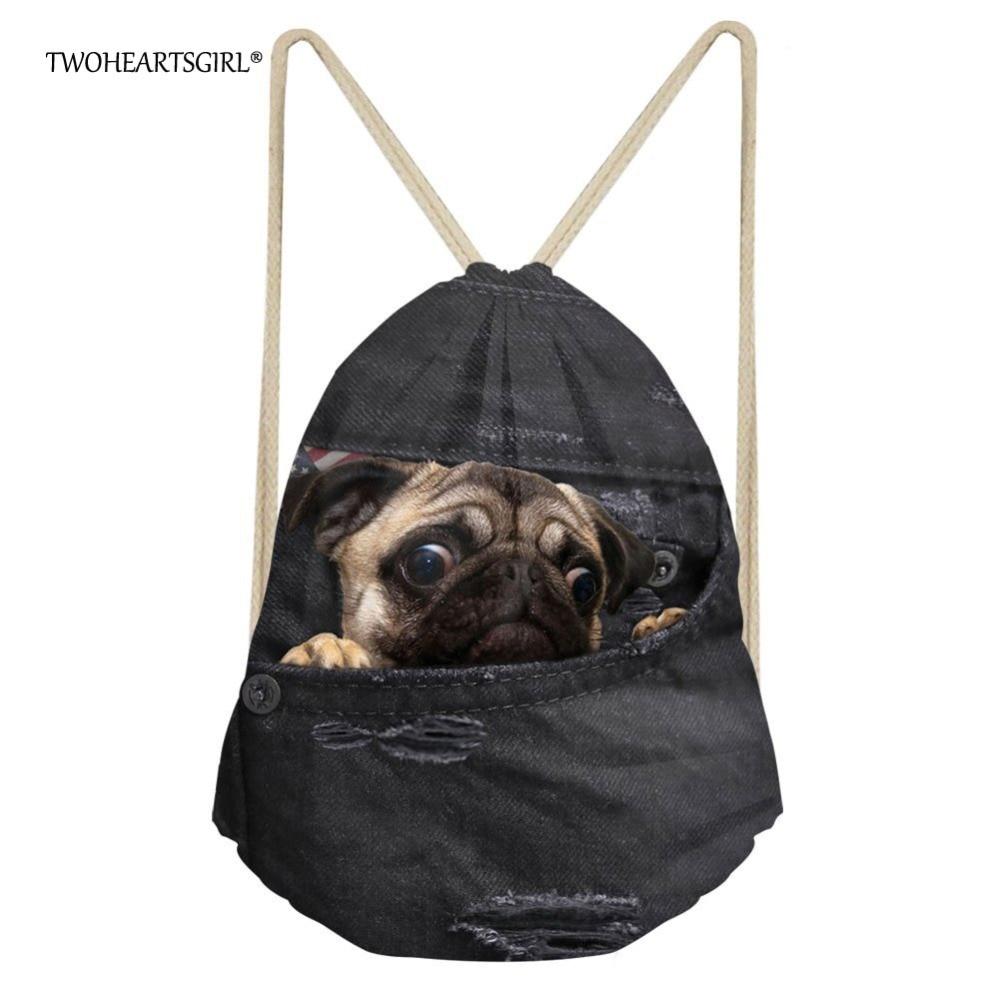 TWOHEARTSGIRL Vintage Puppy Pug Drawstring Bag For Women Cute Kids Jeans Travel Storage Rucksack Girls Bagpack Sack Pack Mochila