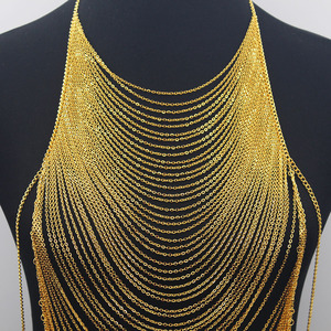 Image 5 - Luxury Fashion Shiny Sexy Body Belly  Gold Silver Color Full chain Body Chain Bra Slave Harness Necklace Tassel Waist Jewelry