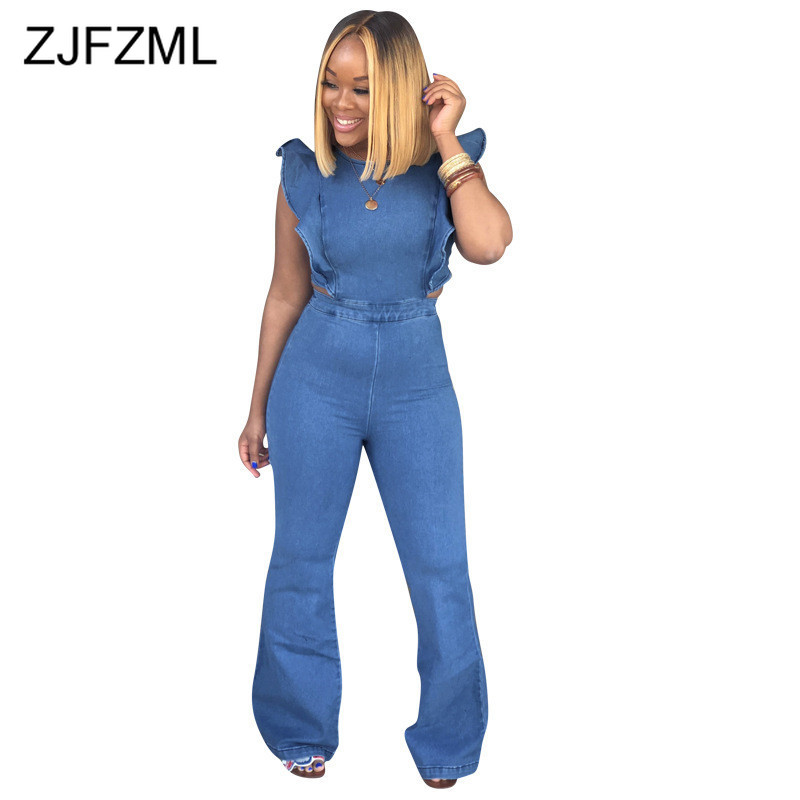 Plus Size Casual Denim   Jumpsuits   Women Blue Butterfly Sleeve Backless Bandage Romper Summer Sleeveless Zipper Up Party Overall