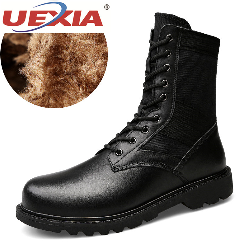UEXIA Autumn Winter Fashion Men Boots Vintage Style Casual Men Shoes High-Cut Lace-Up Warm Plush Motorcycle Boots Moccasin Flats цены онлайн