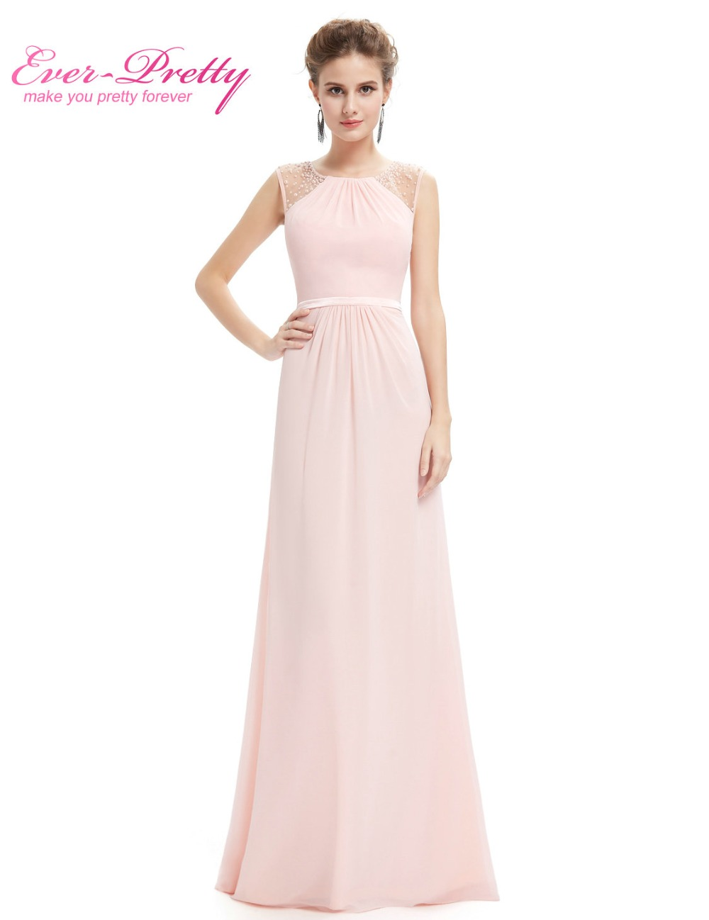 Robe De Soiree Elegant Evening Dresses Ever Pretty EP08742 Pink Women  Sleevesless Long Chiffon Wedding Formal Party Gowns 2018-in Evening Dresses  from ... ff39d5f13