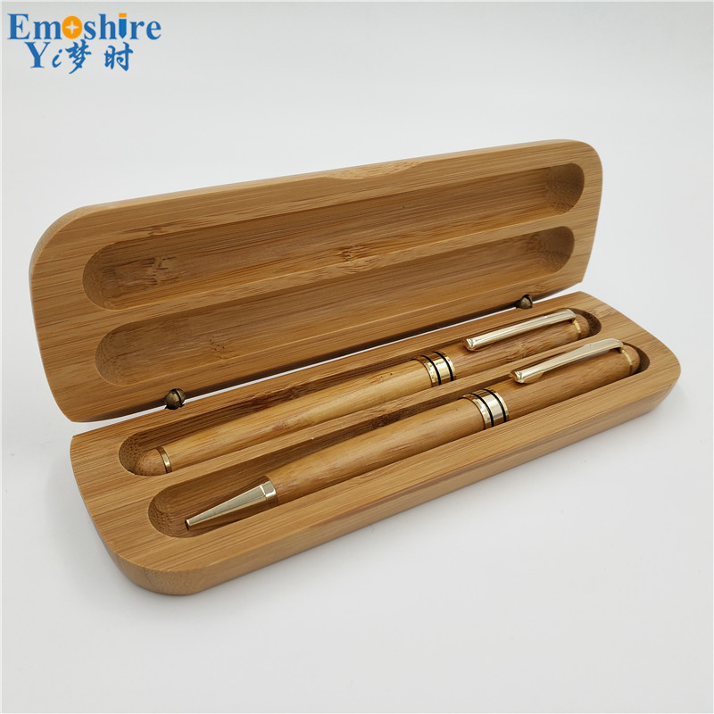 Best Quality Bamboo Double Ballpoint pen with Pencil Case Suit Boutique Bamboo Fountain Pen Box Weeding Gifts P187 best quality double sortie12v 24v 150w