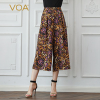 VOA шелк с леопардовым принтом Широкие штаны Для женщин Повседневное Подрезанные штаны Высокая Талия Свободные Большой Размеры одноцветное