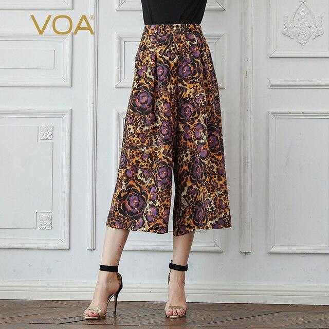 cf6f90e264ee VOA Silk Leopard Print Wide Leg Pants Women Casual Cropped Trousers High  Waist Loose Large Size Basic Palazzo Pants Boho K3565