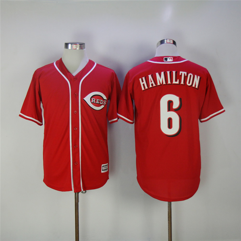 MLB Mens Cincinnati Reds Billy Hamilton Jersey Majestic Scarlet Alternate Gray Flex Cool Base Player Jersey