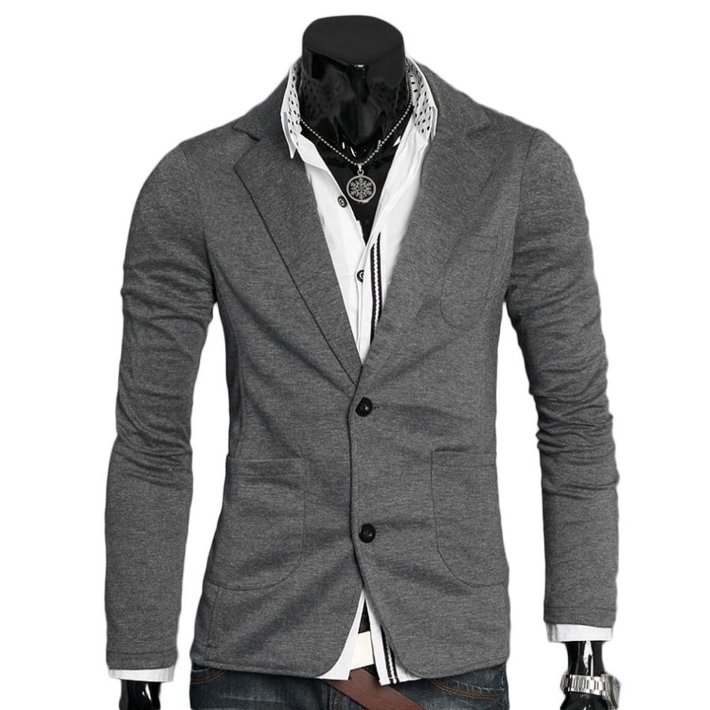 Spring Autumn Men's Casual Suits Men Ultra-slim Slim Jacket Single Button Cotton Blazer Male Turn-down Collar Business Outerwear Skillful Manufacture