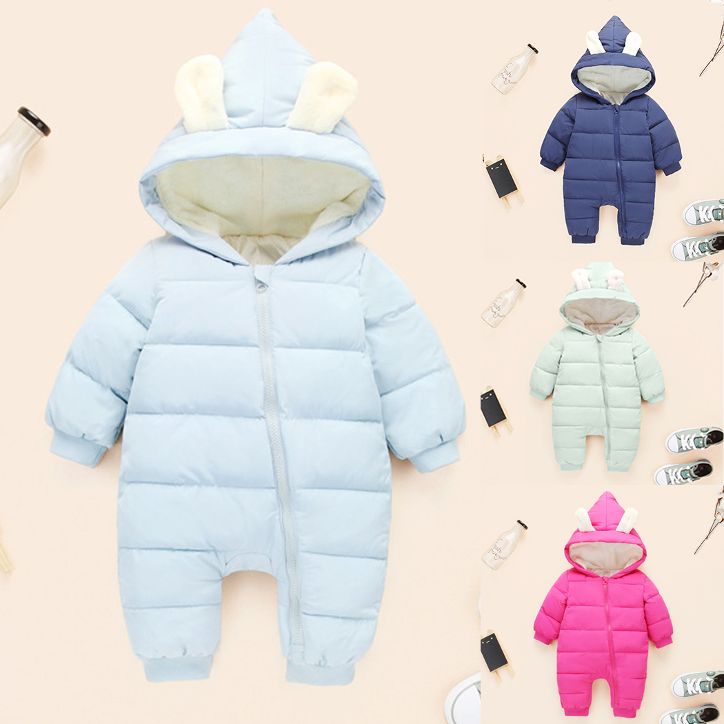 Newborn Overalls 2018 Spring Winter Warm Baby Girl Boy Snowsuit Down Baby Rompers Hoodies Clothes Kids Children Jumpsuit