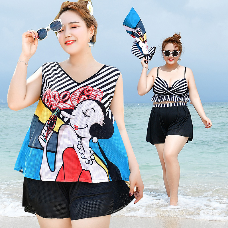 Hot sale bikini set striped cartoon print plus size swimwear high waist shorts maillot de bain big size swimsuit cover up 6XL simple women s plus size stripe bikini set