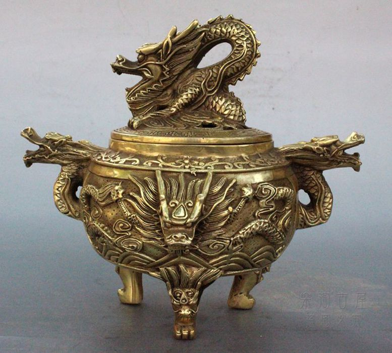Details About Vintage Style Brass Carved Chinese Dragon Incense Burner / Censer Statue.