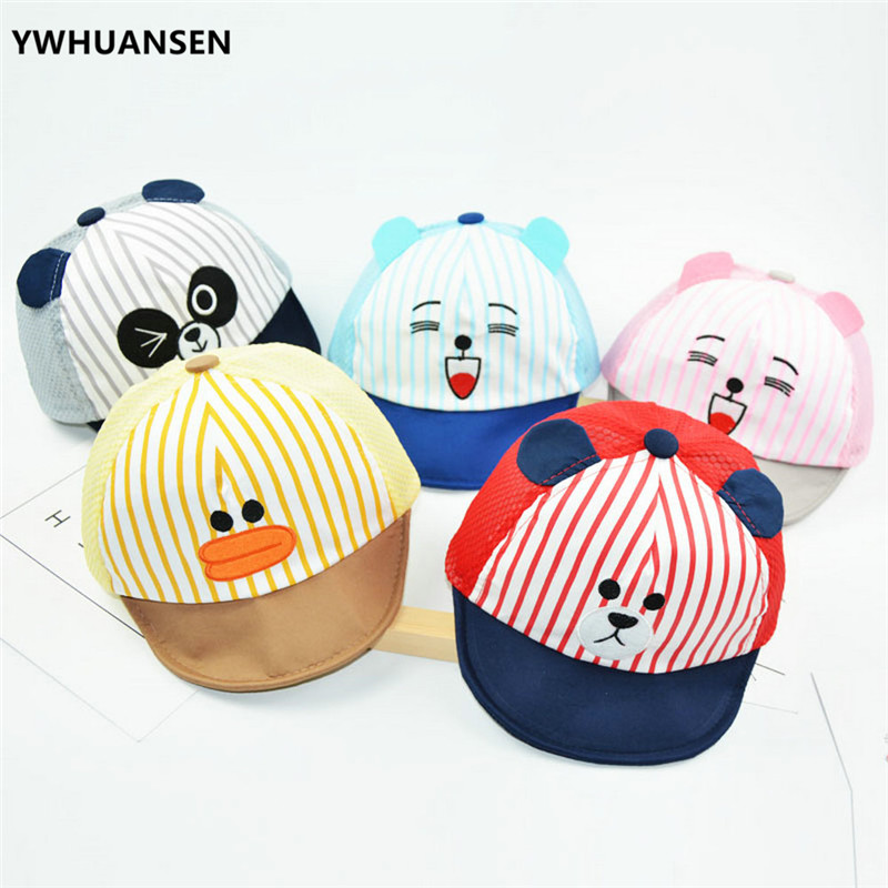 YWHUANSEN 6-24M Unisex Summer Hat For Girl Cute Animal Mesh Boys Baseball Caps Striped Kids Hats Baby Fashion Stuff Toddler Caps