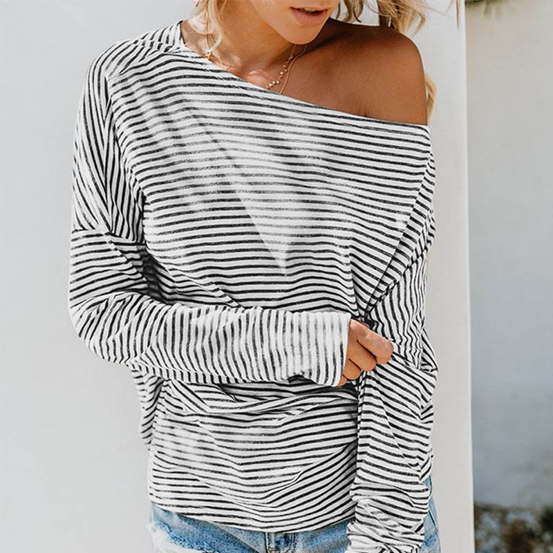 Women Sexy Stripes Print Tops Slash Collar Off-the-shoulder Long Bat Sleeve Casual T-shirt  Autumn Loose Pullover Tops