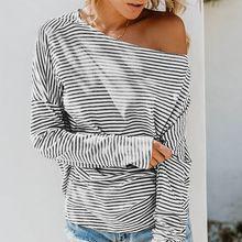 b516ab367c6 Liva girl Women Sexy Stripes Print Slash Collar Off-the-shoulder Long Bat  Sleeve