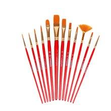 Paint-Brush-Set Supplie Watercolor Wooden-Handle Drawing-Art Nylon-Hair Gouache 12pcs/Set