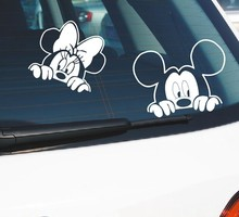 Mickey Minnie  Mouse Kissing Vinyl Rear Windshield Car Decal Sticker Cute Kids Cartoon Car Decals Sticker Pegatinas Car styling