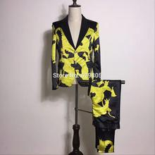 S-4XL Korean Men's Yellow Dragon Printed Suits Set Male Singer Show Skinny Blazer Pants Costume Performance Party Wearing Suits
