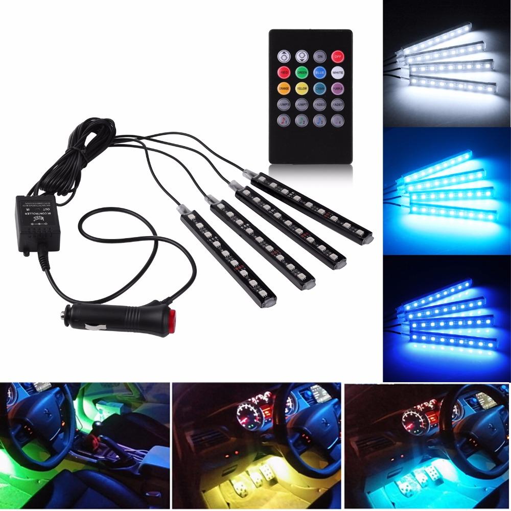 Prix pour 12 V De Voiture Musique Contrôle RGB LED DRL Bande Lumière 5050SMD Voiture Auto Télécommande Décoratif Flexible LED Bande Kit avec IR À Distance
