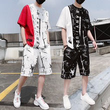 AmberHeard New Fashion Summer Men Sporting Suit Short Sleeve T-shirt+Shorts Hip Hop Sportswear Two Piece Set For Tracksuits